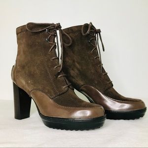 TOD'S ASPEN SUEDE LEATHER HEELED BROWN BOOTS
